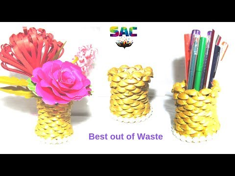 Diy Pista shell crafts | Pen stand diy | How to make pen holder from waste pistachio shells