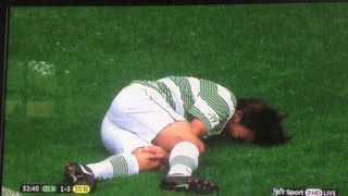 LOUIS TOMLINSON INJURING HIS KNEE AT THE CHARITY FOOTBALL MATCH GLASGOW 8-9-13