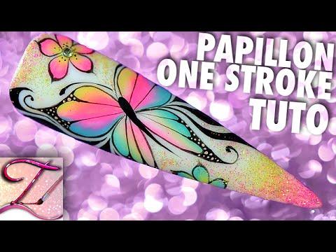 Tuto nail art papillon one stroke 3 couleurs pastel fluo idée d'été
