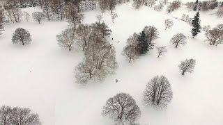 自然の山田牧場でスノーボード(P3P-Proドローン空撮 + BG映像)