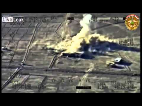 Colored Footage for Iraqi Drones Blasting Terrorist ISIS in Tikirt