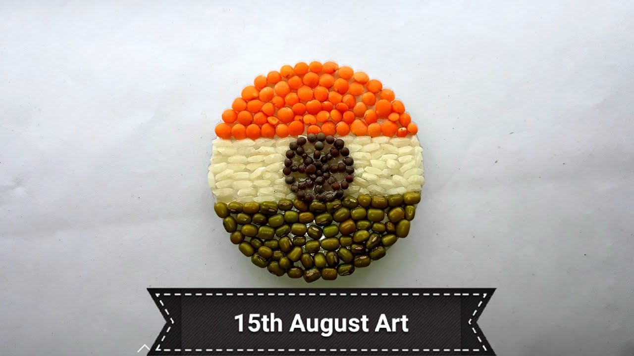 Rice Dal Usieing Art Making Indian Flag Indian Flag Art For 15th