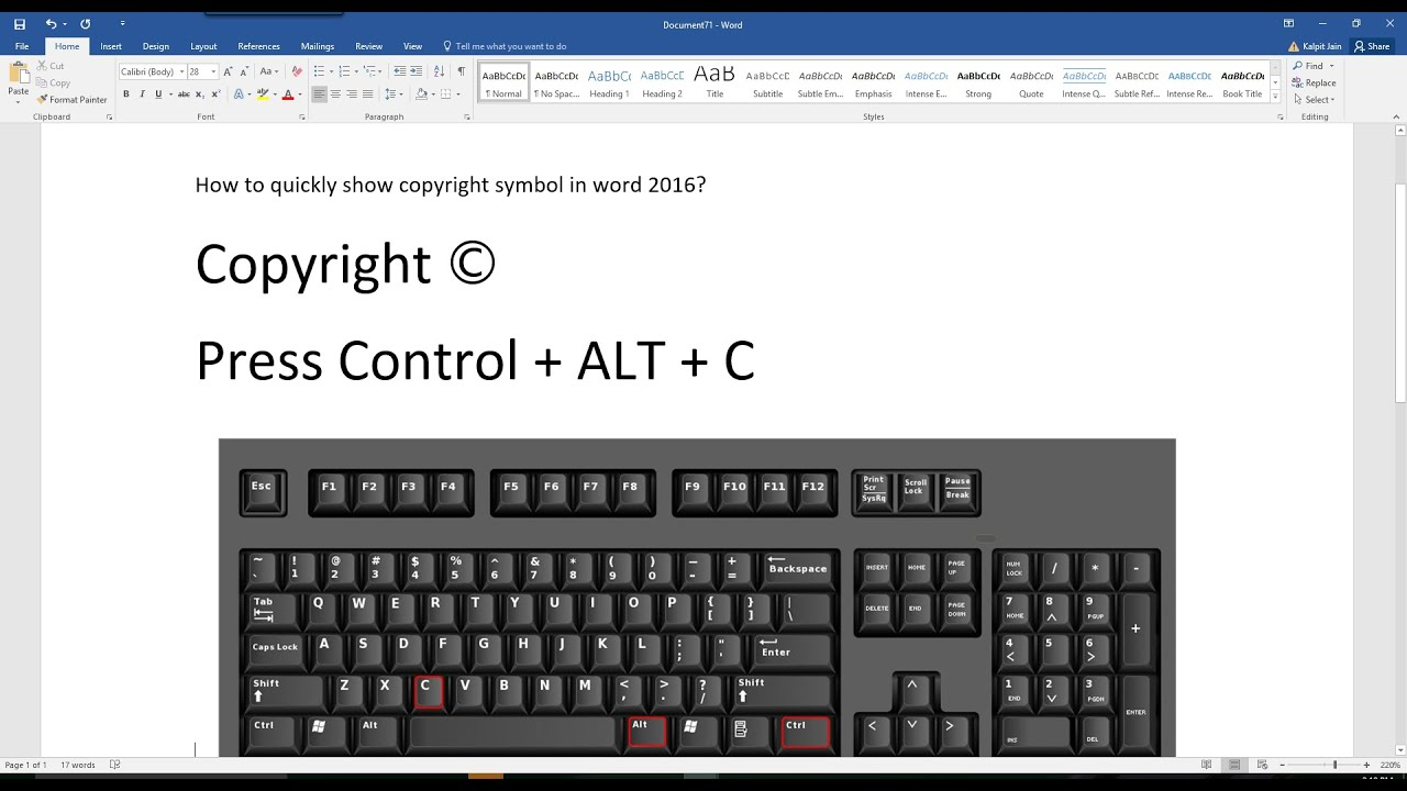 How To Quickly Type Copyright Symbol In Word 2016 Office365