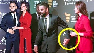 Virat Kohli With Girlfriend Anushka Sharma At Indian Sports Awards 2017