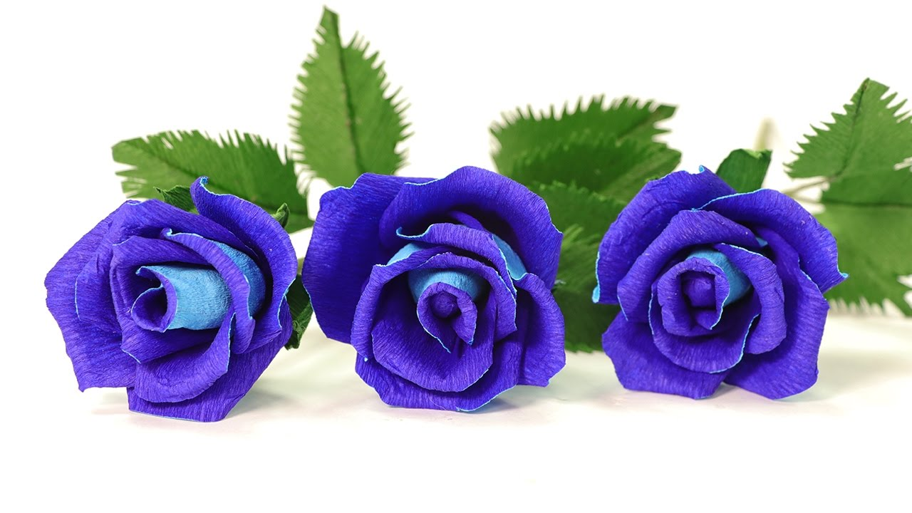 diy paper flowers how to make blue paper rose youtube