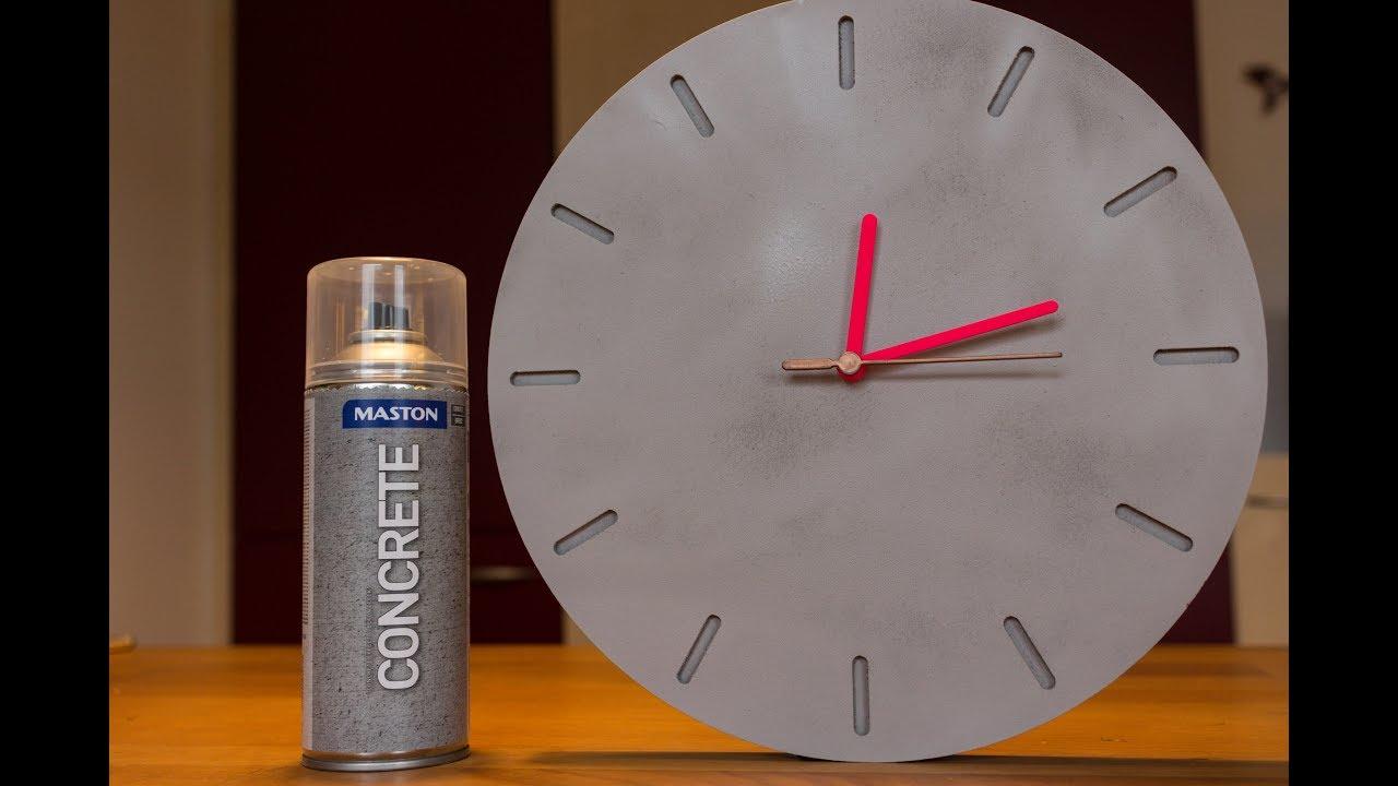 diy concrete effect clock - wanduhr in betonoptik - youtube