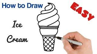 ice cream draw drawing easy drawings beginners cone cartoon