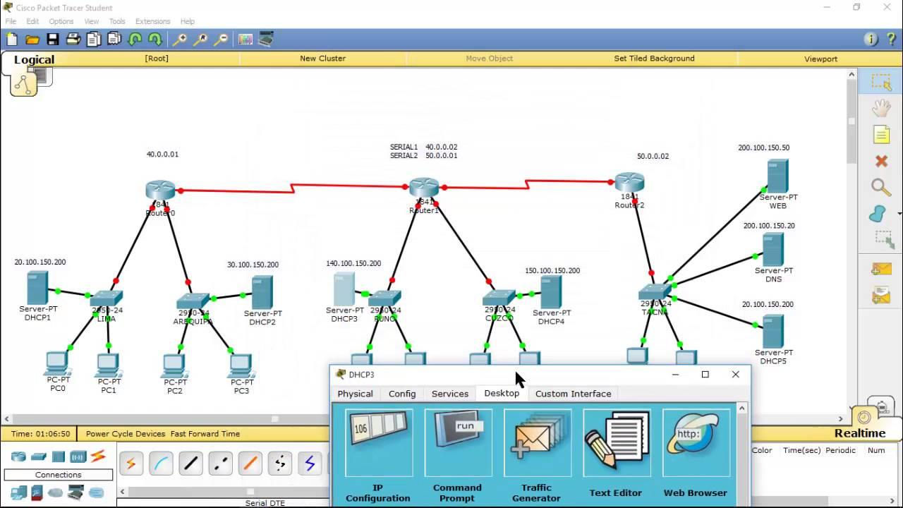 Configuraci 211 N De 3 Routers Servidores Dhcp Dns Y Web En