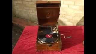 """A Very rare Indian Teak HMV 101 Portable Gramophone""  Can you spot why it"