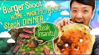 HOMEMADE HOTPOT & Monster STEAK DINNER! Trying to Send Paren...