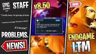 Huge 8.50 Update, Avengers Endgame LTM, Epic Staff Problems & Secret Map Change! (Fortnite News)