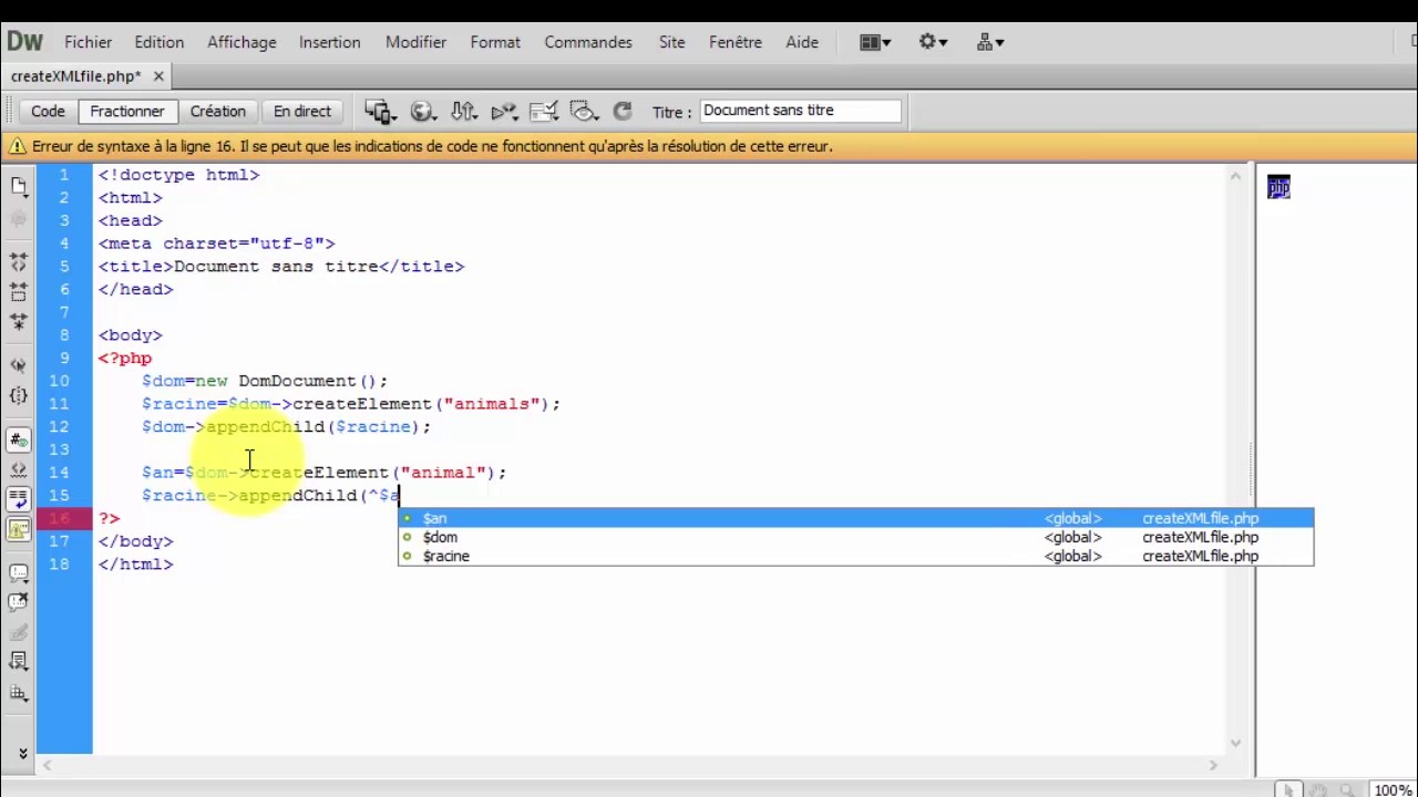 create xml file with php youtube