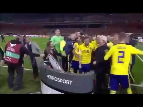 Swedish team celebration after qualifying for the World Cup 2018