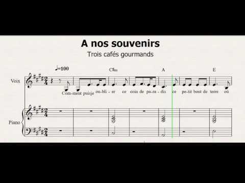 A Nos Souvenirs - Trois Cafés Gourmands - Partition - Chant/piano - Sheet Music