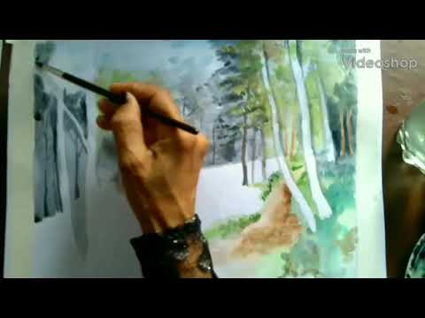 Forest stream landscape watercolour painting/how to paint trees,water and stream in forest