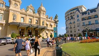 Walking Monte-Carlo, Monaco - Casinos, Hotels, Harbour, Shops, Cafes & Station - French Riviera