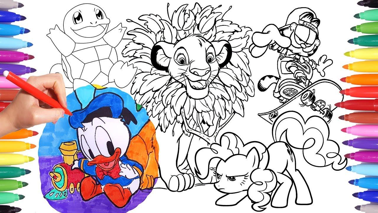 Cartoon Characters Coloring Book Page 8: Garfield, Simba, Donald ...