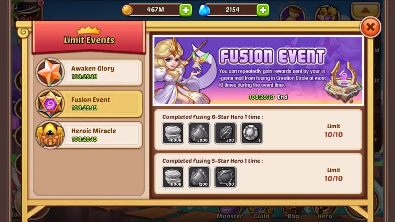Idle Heroes - Fusion Event - Completed fusing 10 hero 6 star