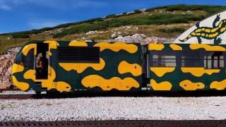Schneebergbahn Ausfahrt aus Station Hochschneeberg 2015 - Rack Railway Train (Austria)