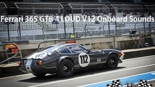 Ferrari 365 GTB 4 Daytona race car Onboard Sound. Overtaking and Lovely V12 sounds