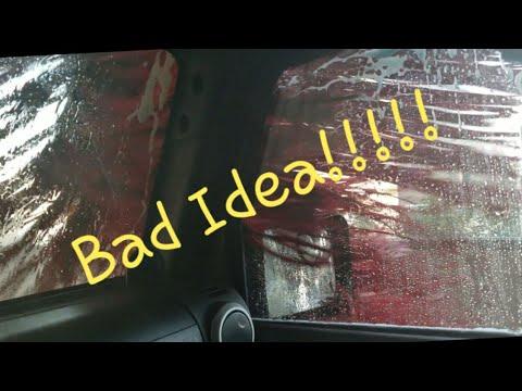 Soft Top Jeep Wrangler Through A Car Wash