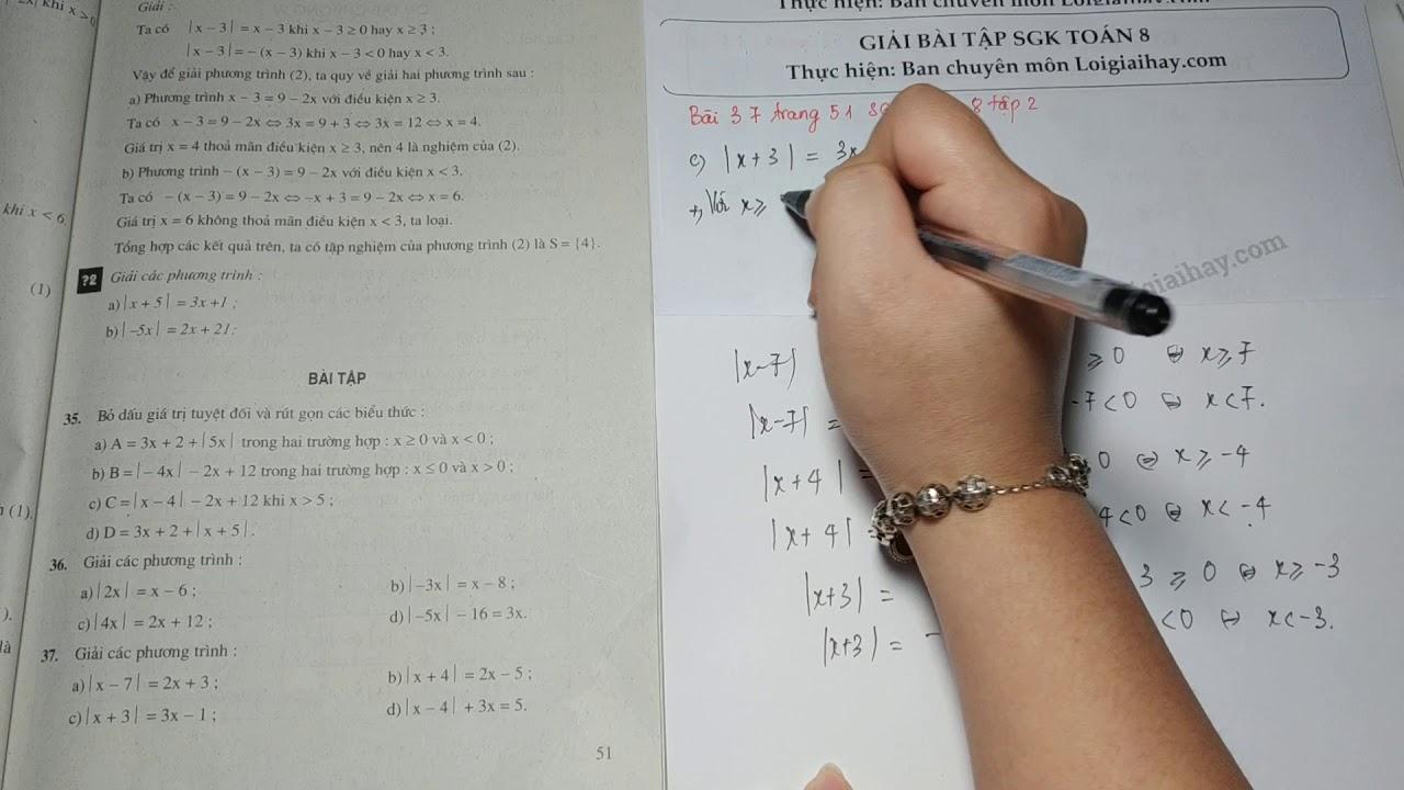 Giải bài 37 trang 51 SGK toán 8 tập 2