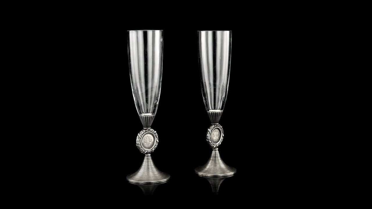 ANTIQUE 20thC RUSSIAN FABERGE SOLID SILVER & GLASS CHAMPAGNE FLUTES c 1900