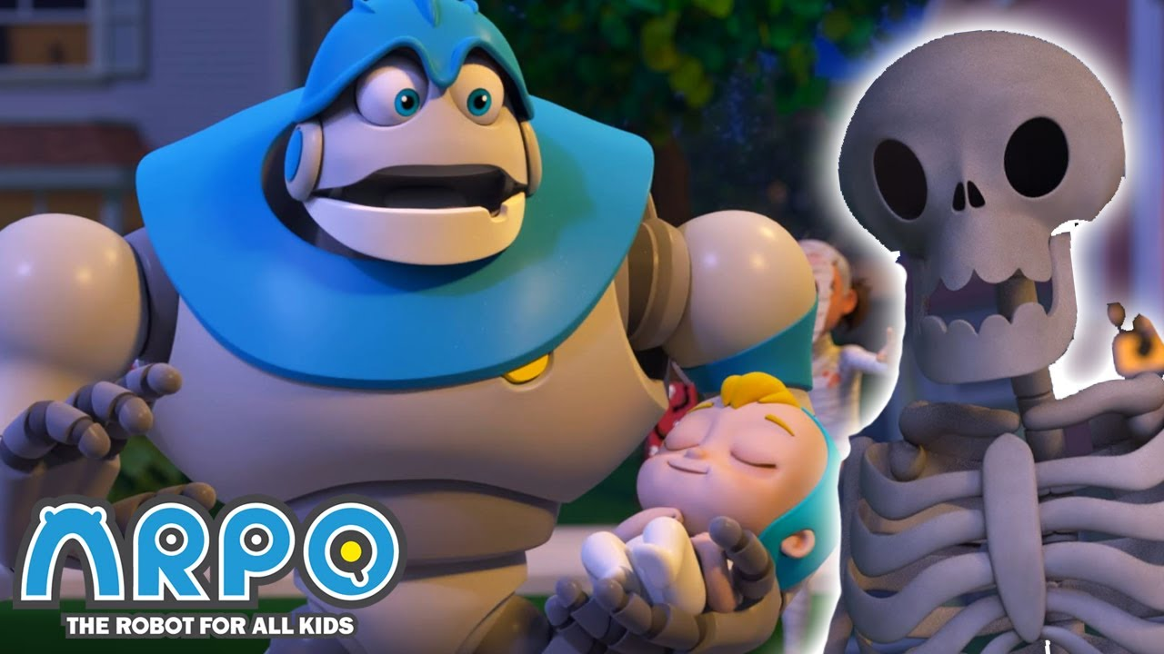 Arpo the Robot | Halloween Trick or Treat - KEEP THE BABY ASLEEP! | Funny Cartoons for Kids