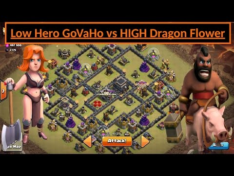 GoVaHo. Low LVL vs HIGH TH9 DRAGON FLOWER. 3 STAR WAR Attack. VALKS + HOGS. Clash of Clans