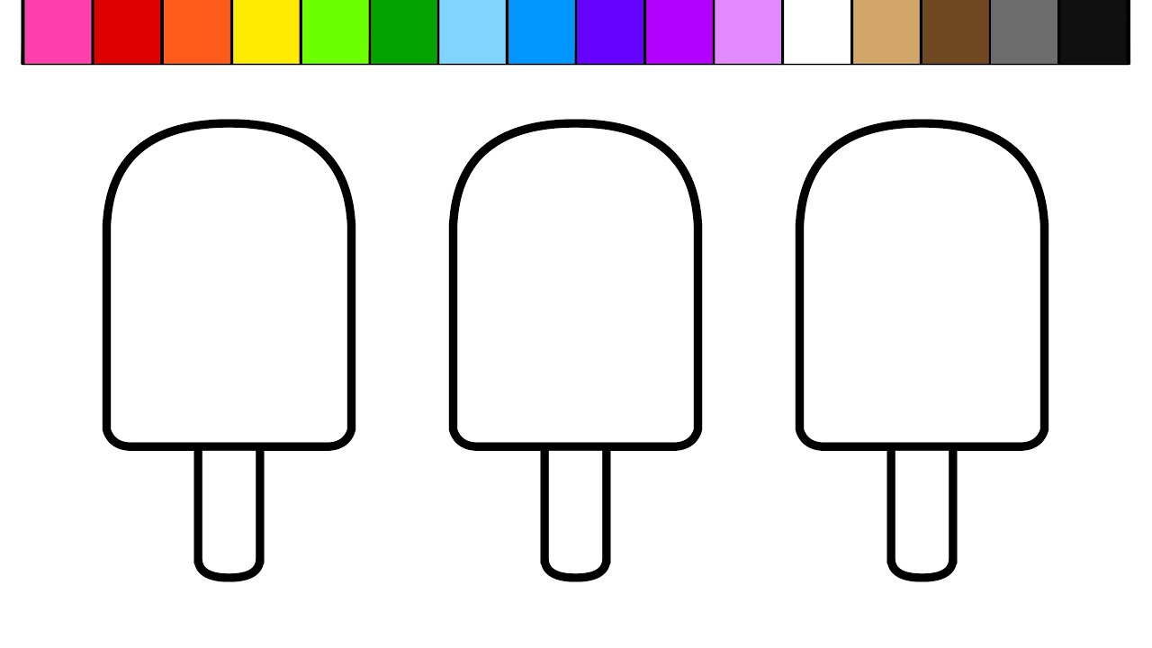 Learn Colors For Kids And Color This Ice Cream Popsicle Coloring Page