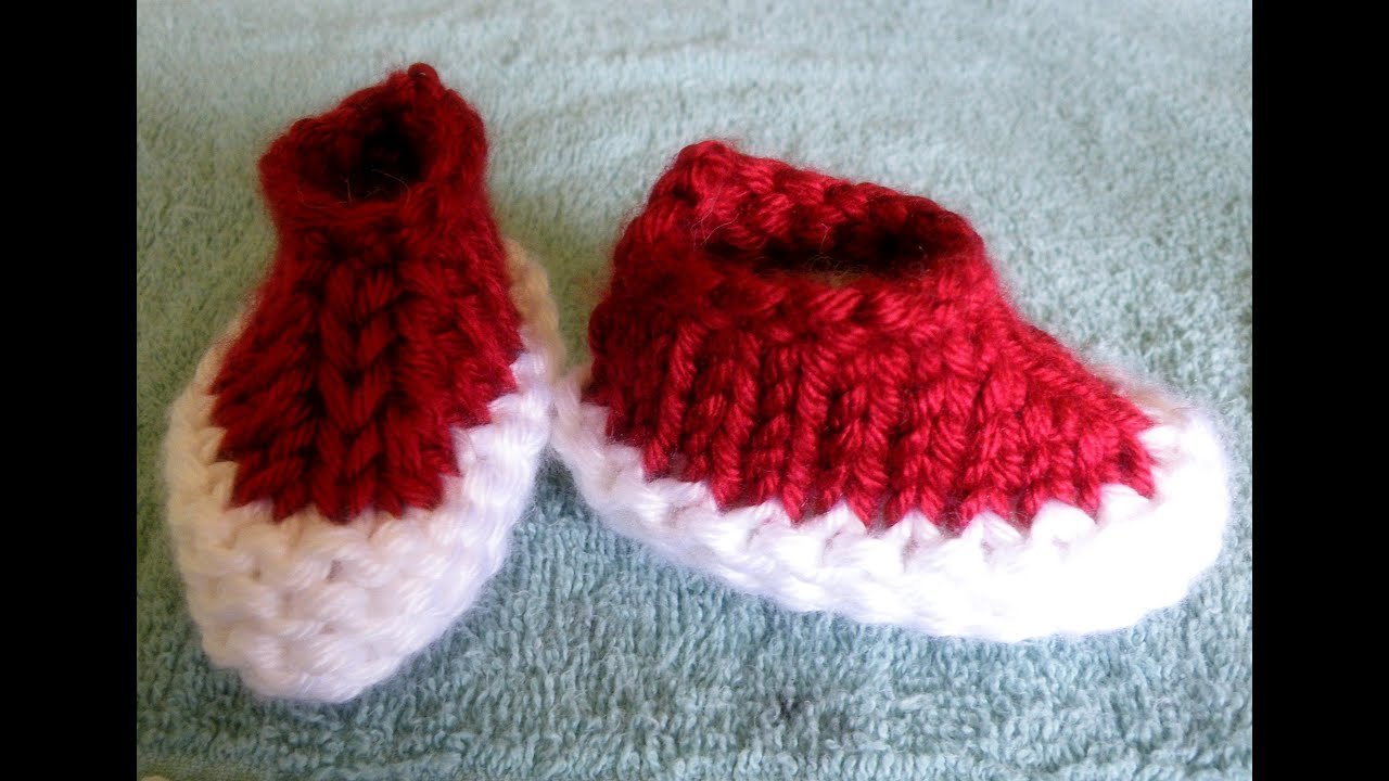 How To Loom Knit Ankle Baby Booties Circular Loom - YouTube