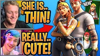 "Tfue & Streamers React to the *NEW* ""Thin"" Aura & Guild Skin! (Small Hitbox) - Fortnite Moments"