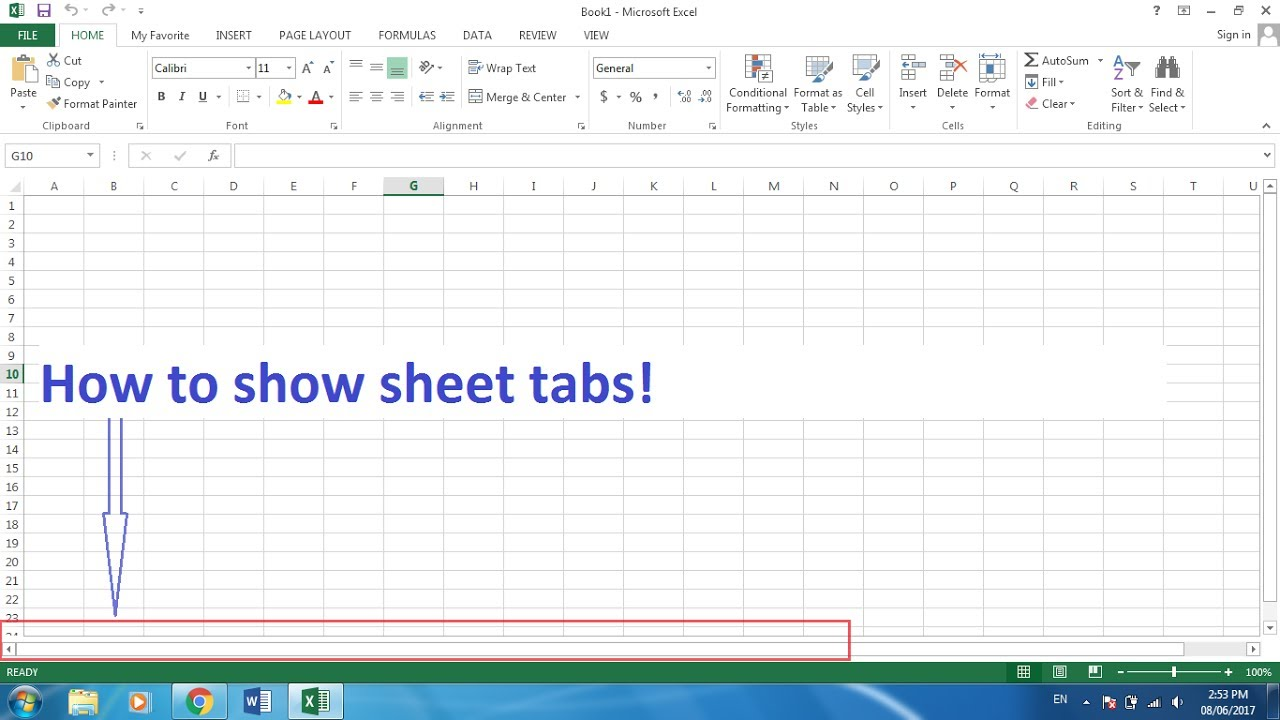 How To Show Microsoft Excel Sheet Tabs.