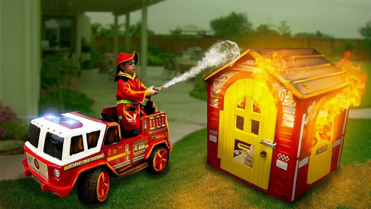 Dima pretend play like a fireman and builder ride on tractor