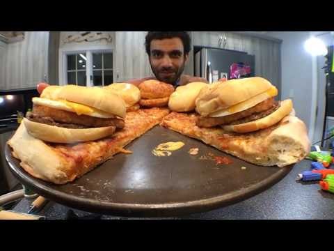 7,000 Calorie Sausage egg and cheese croissant pizza Mukbang