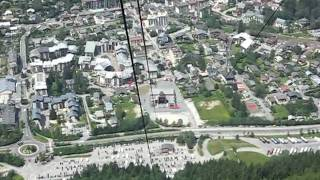 Exciting cable car between Chamonix and Mont-Blanc