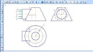 Пересечение двух поверхностей вращения - конуса и цилиндра