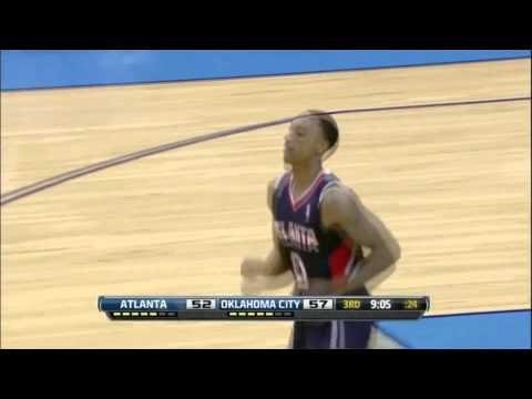 Jeff Teague dunks ahead of Serge Ibaka and laughs at him 11/4/12