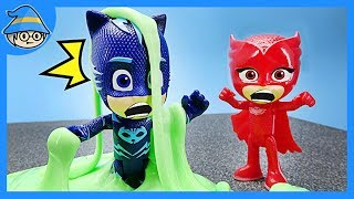 PJ Masks and a slime toys. Try to escape from sticky surprise slime.