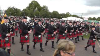Worlds 2013 - Field Marshal Montgomery Pipe Band Parade to the Bus as World Champions