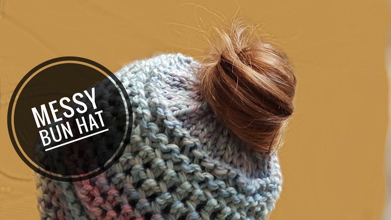 3336d1f46f6 How to Loom Knit a Messy Bun Hat with an Elastic Hair Band (DIY Tutorial)