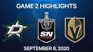 NHL Highlights | 3rd Round, Game 2: Stars Vs. Golden Knights – Sep. 8, 2020