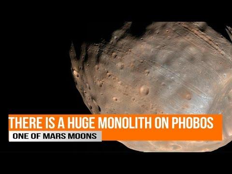 Huge Monolith on Phobos one of Mars Moons