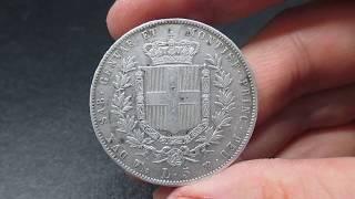 Moneta 5 Lire in Argento Re Vittorio Emanuele II Regno di Sardegna
