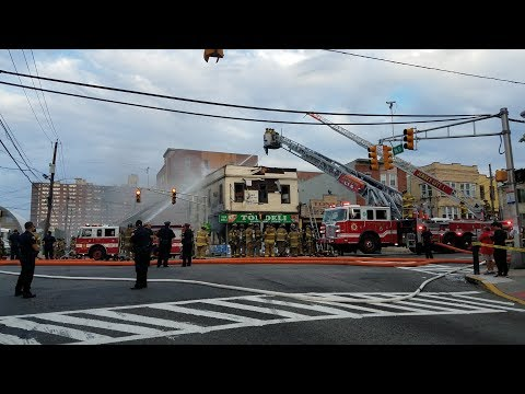 Jersey city Nj Fire Department 4th Alarm Fire Kennedy Boulevard w/Audio 9-1-17