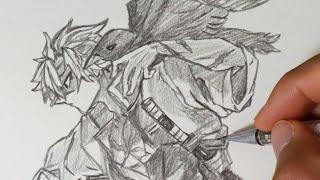 가로등위의 까마귀와 사네미 그리기