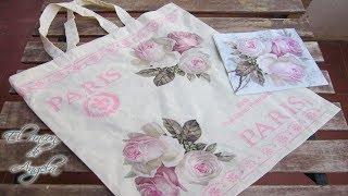 Decoupage y pintura sobre una bolsa de tela - Conideade