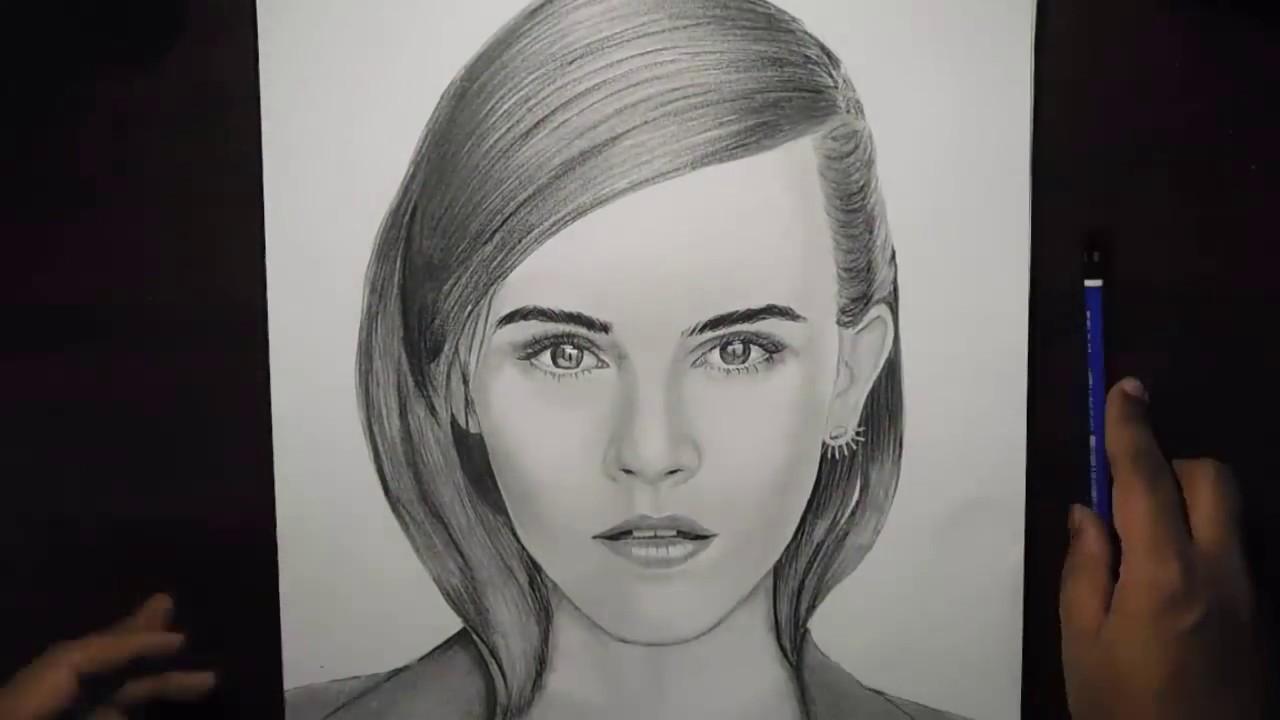 Emma watson pencil sketch timelapse