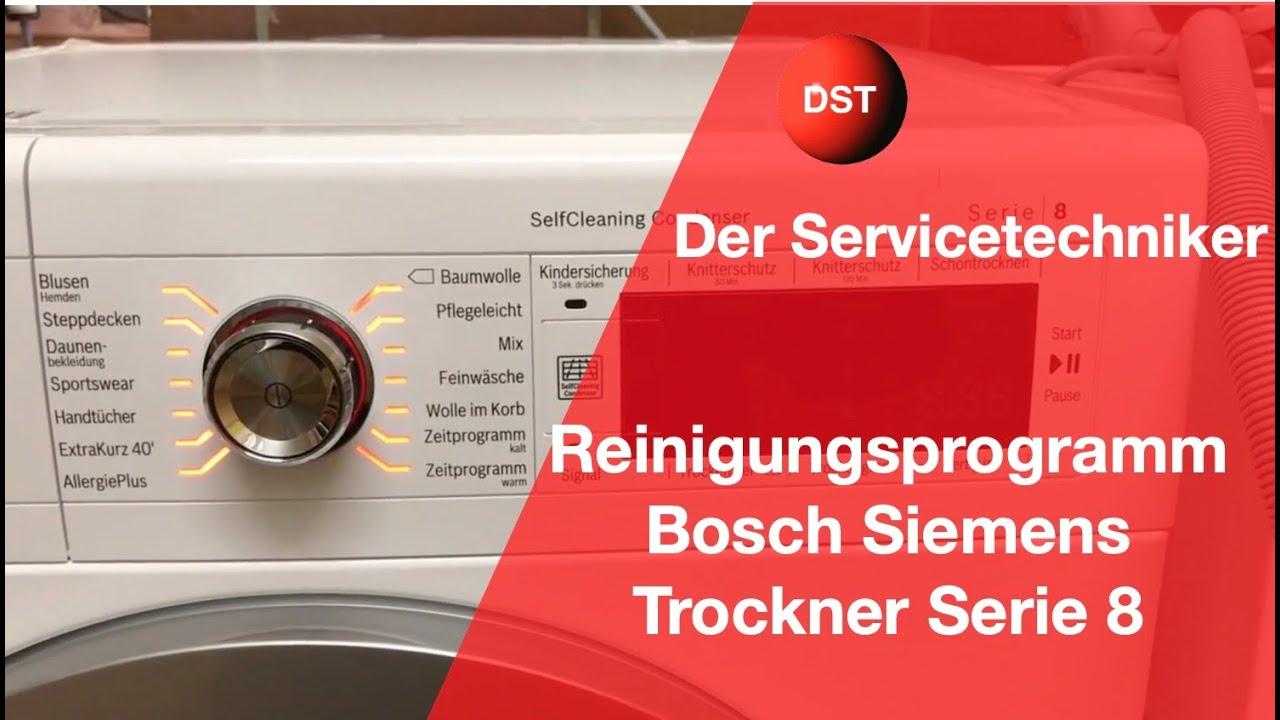 Bosch siemens trockner spülprogramm serie modelle youtube