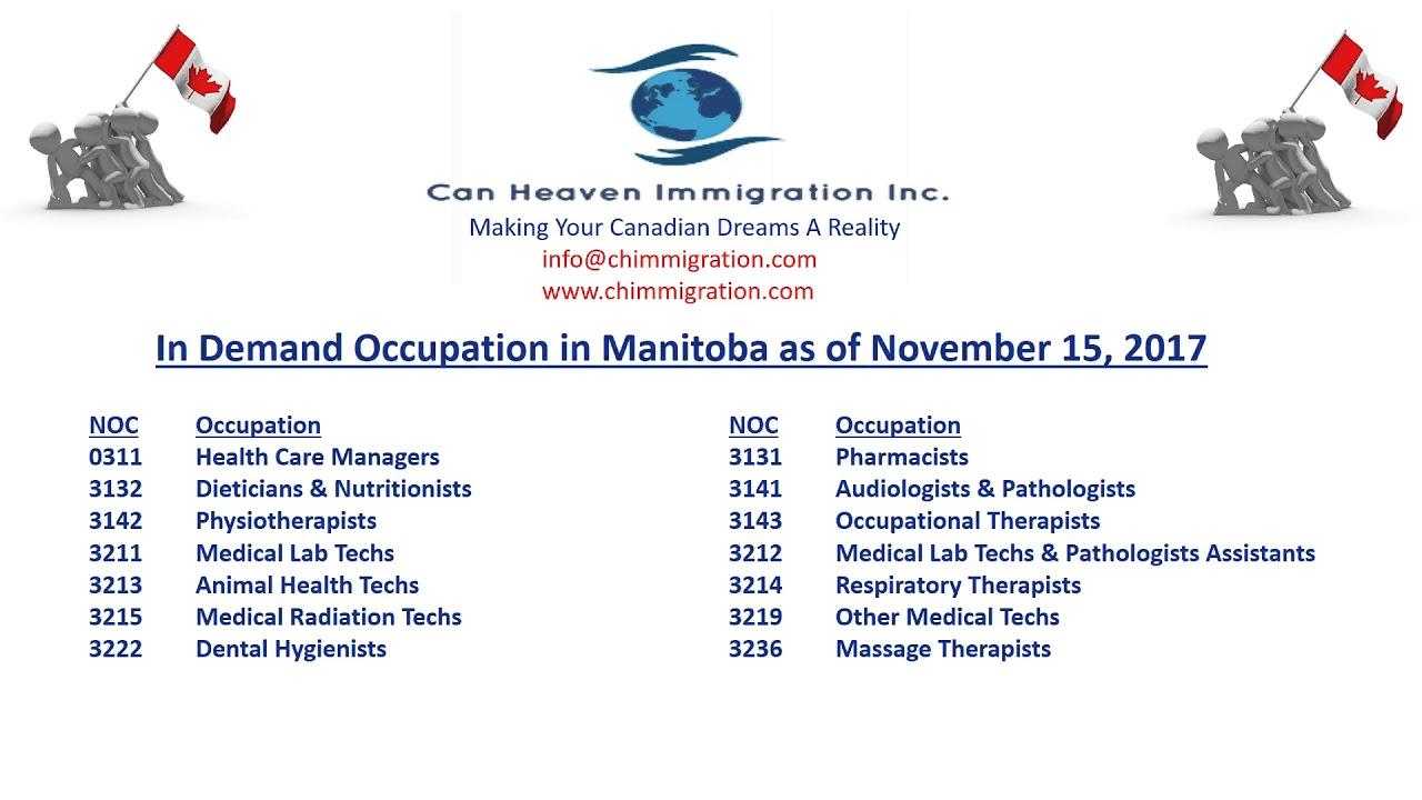 In Demand Occupations In Manitoba Manitoba Pnp